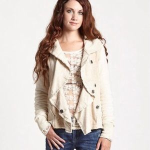 Free People Clementine Lace Inset Hoodie Jacket